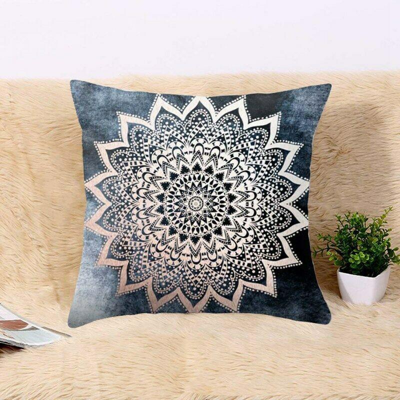 "Indian patchwork mandala sari ethnic silk Banarsi cushion covers mandala 16/""x16/"""