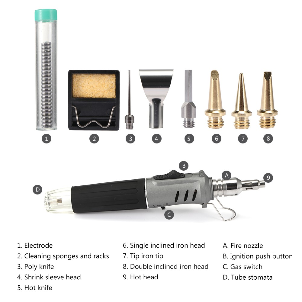 10 in 1 Electronic ignition Gas Soldering Iro Grey | Shopee Philippines