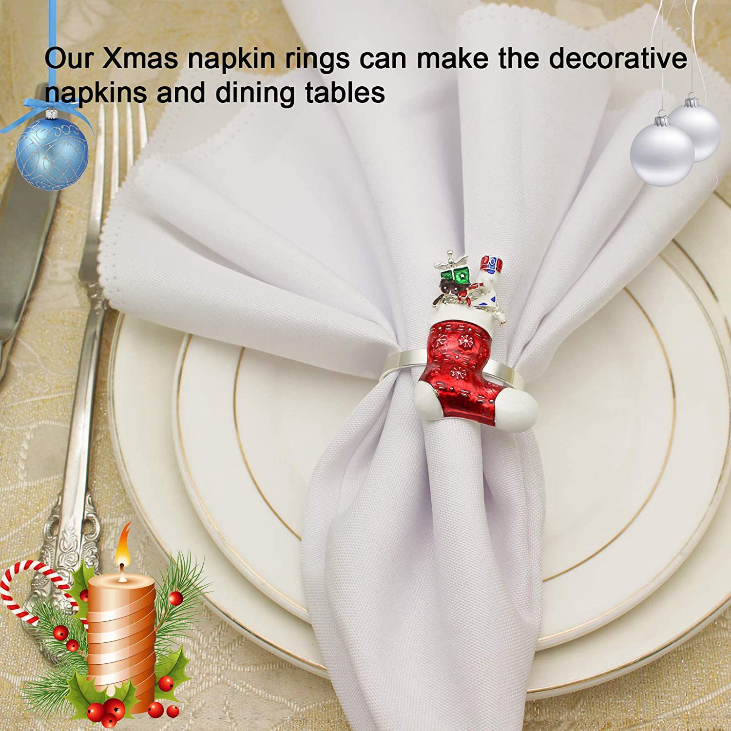 6pc Christmas Stocking Napkin Rings For Xmas Dining Table Napkin Ring Holder For Holiday Party Table Decoration Shopee Philippines
