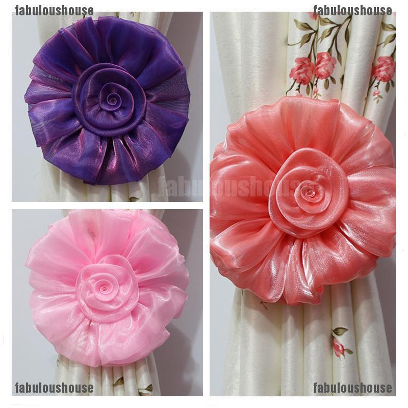 2Pcs Window Curtain Tieback Clip-on Rose Flower Tie Holder Drape Decor Welcome