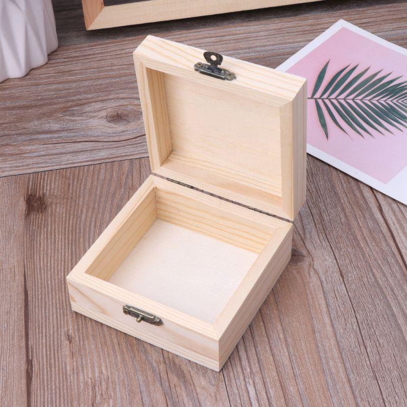 Storage Jewelry Box Plain Wooden Case DIY Xmas Gifts Organizer Bracelet