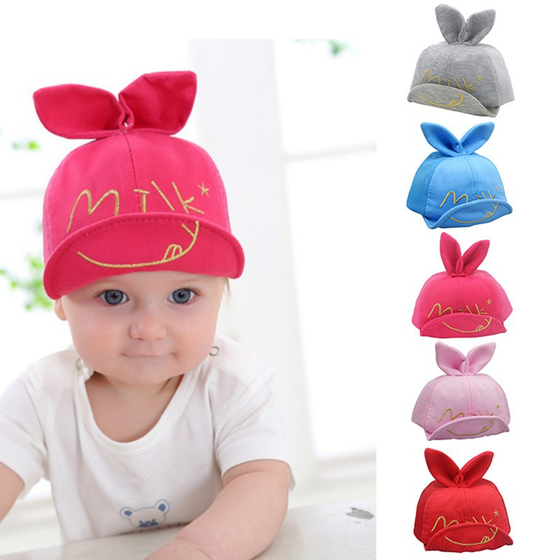 0db9eae83c2 Kids Newborn Girl Boy Baby Snapback Baseball Cap Cute Little Ear Hat summer