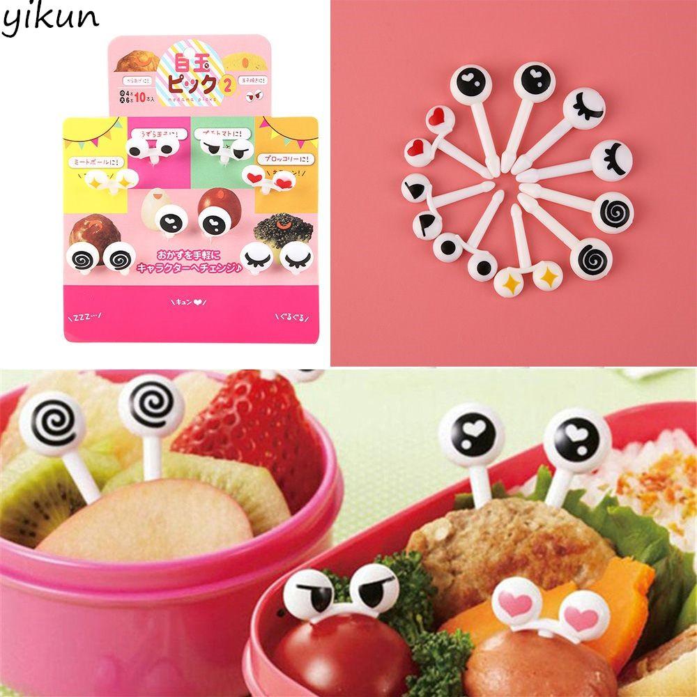 10PCS Eye Mini Food Fruit Picks Baby Kid Lunch Bento Tableware Forks Random