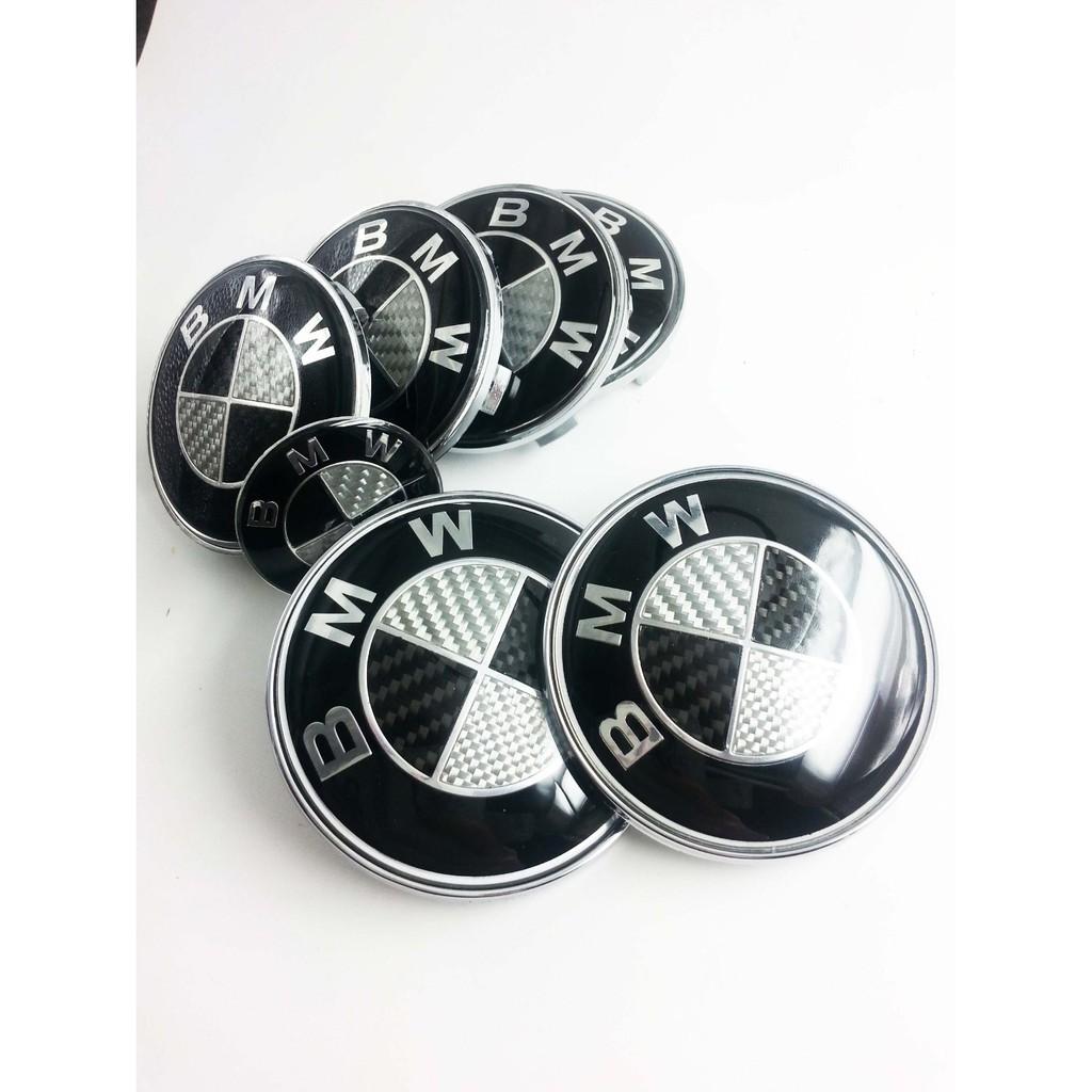 Bmw Black White Carbon Fiber Badges Bonnet Boot Steering Wheel Caps Emblem 7 Pcs Shopee Philippines