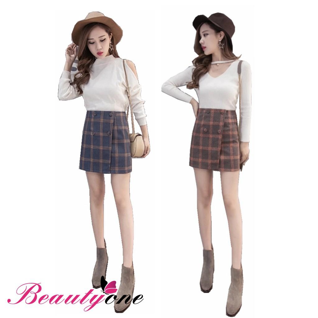 d9ad48b76d Korean women girl high waist zipper pencil mini plaid skirt   Shopee  Philippines