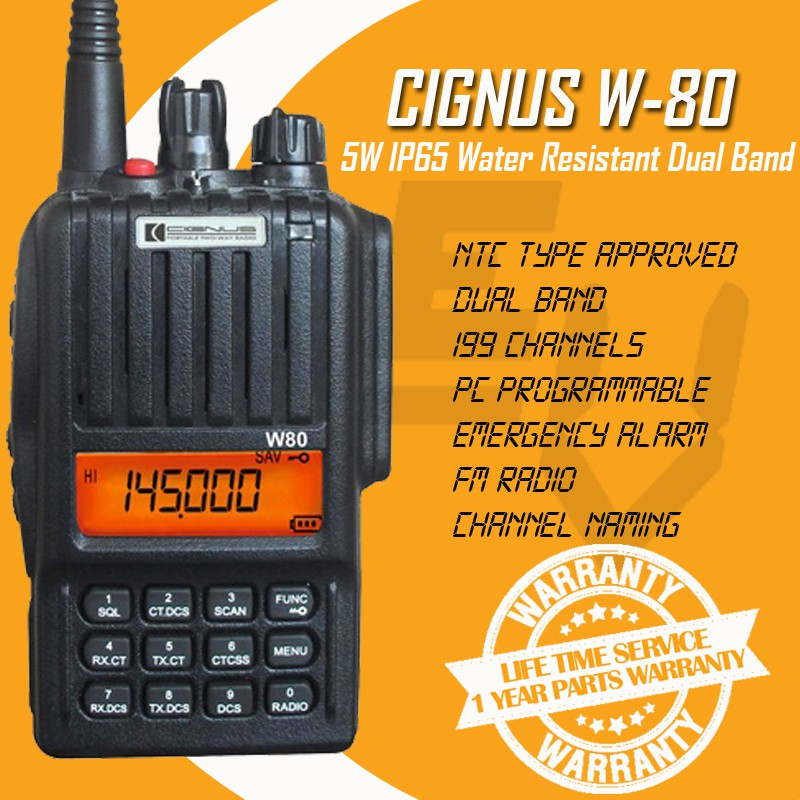 Cignus W-80 5 Watts All Weather Water Resistant Dual Band