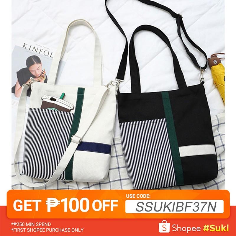 f79b3bacab8 ❤️【Ready Stock】Women Shoulder Bag Canvans Shopping Tote Bag Fashion Sling  Bag