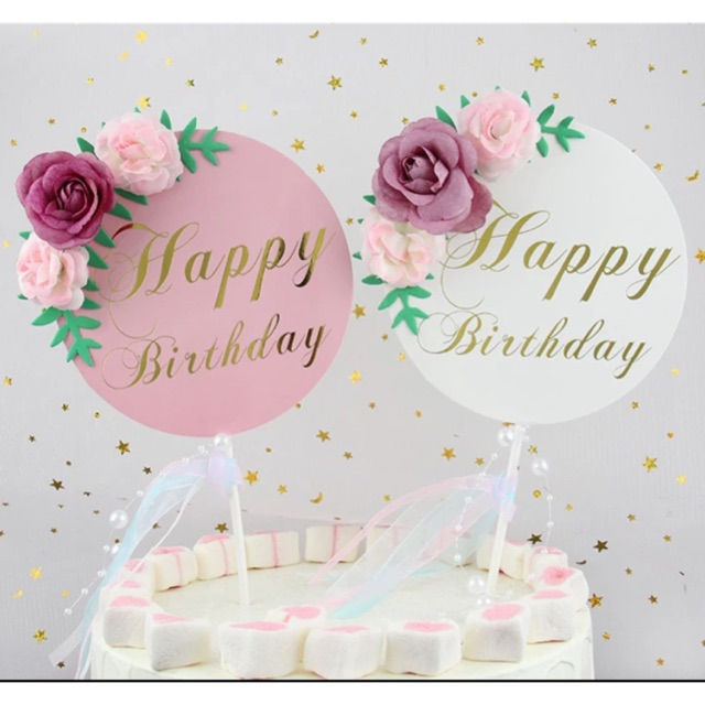 Marvelous Round Happy Bday Cake Topper With Flowers Shopee Philippines Personalised Birthday Cards Veneteletsinfo