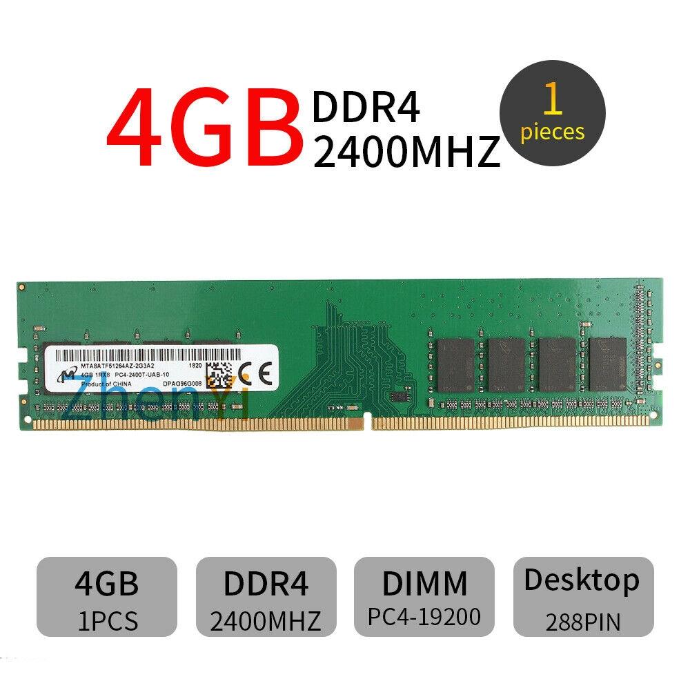 For Micron 288Pin 2400MHz DIMM DDR4 RAM 1RX16 1.2V Desktop PC4-19200 4GB Memory