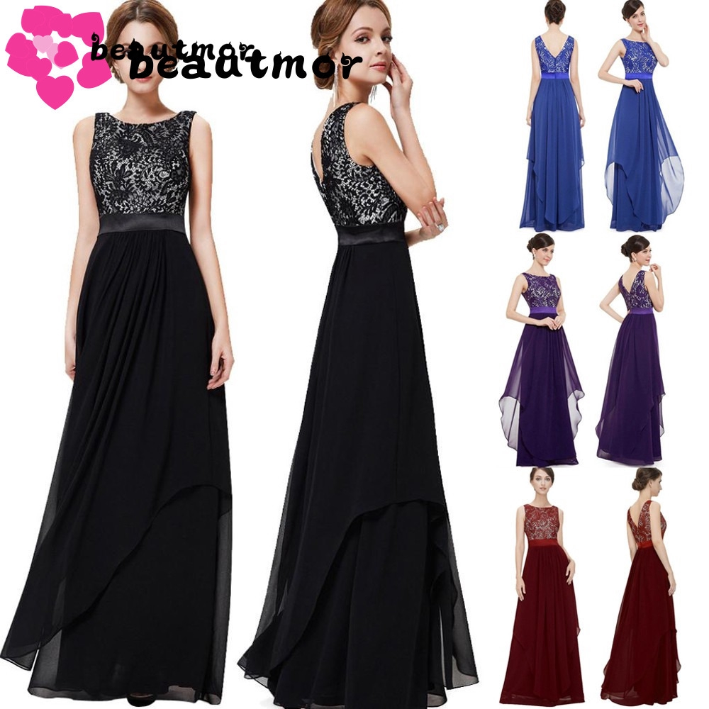2pcs Women Long Formal Evening Prom Party Bridesmaid Ball Gown Cocktail Dress