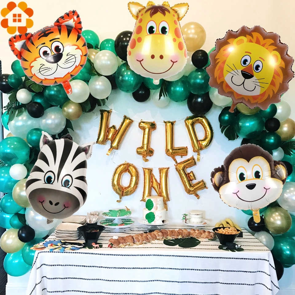 12 Pcs Animal Head Foil Balloon Kids Birthday Party Supplies Gifts Double-sided