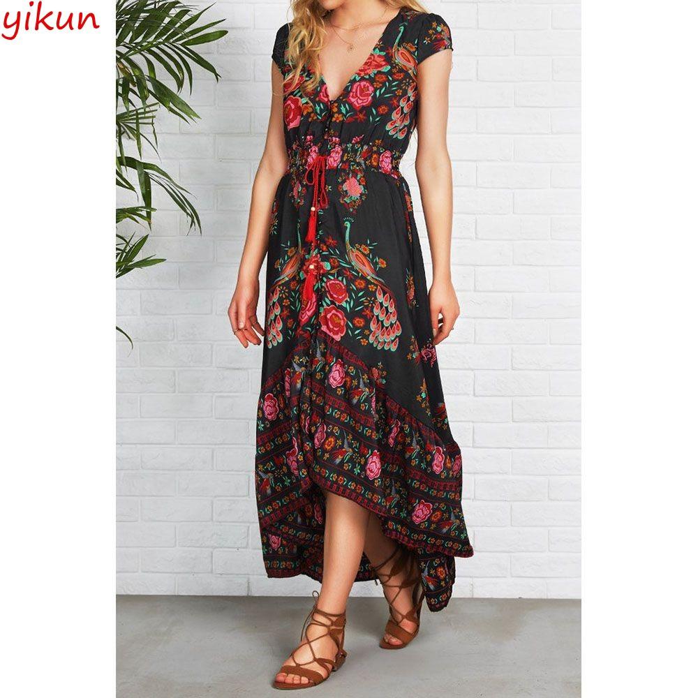 eaa5c0aafbb92 Women Evening Party Floral Dress Sundress Long Maxi