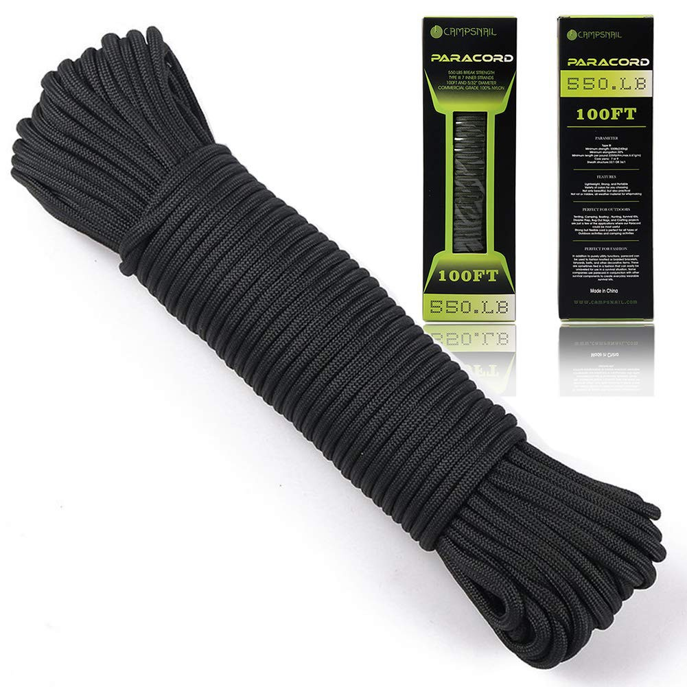 Black 100ft 550lb 7 Strands Cord Parachute Strand Survival Camping Hiking