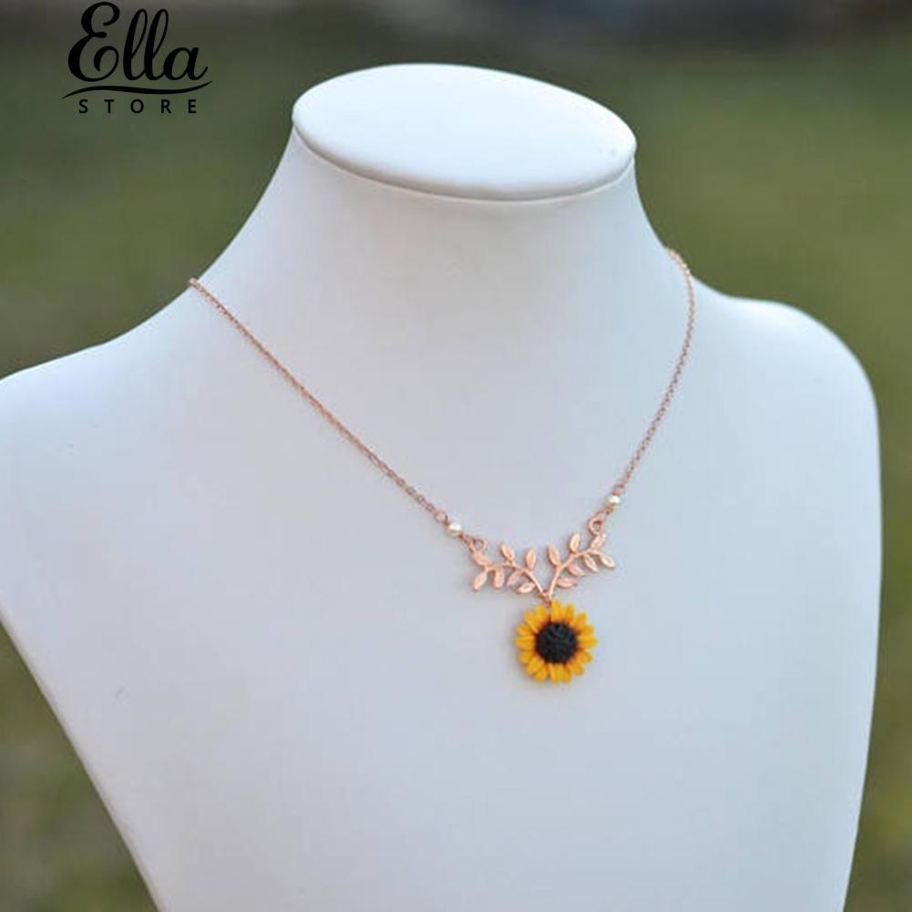 98c3a2a13e280 Ellastore Sunflower Leaf Branch Pendant Jewelry Birthday