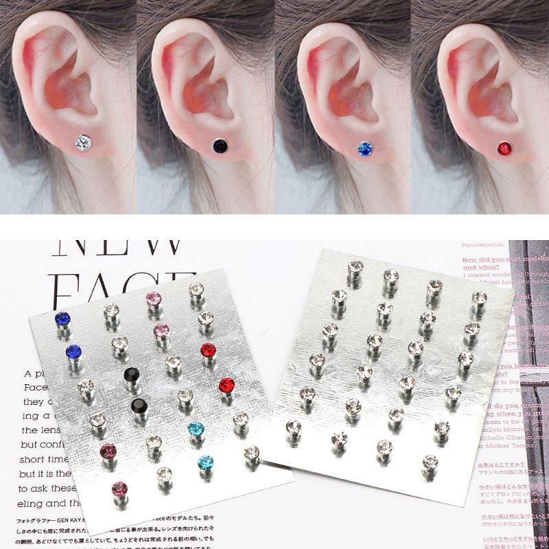 24 Pairs of Stud Earrings Girls Crystal Jewelry Rhinestone Round Pin Party Colours
