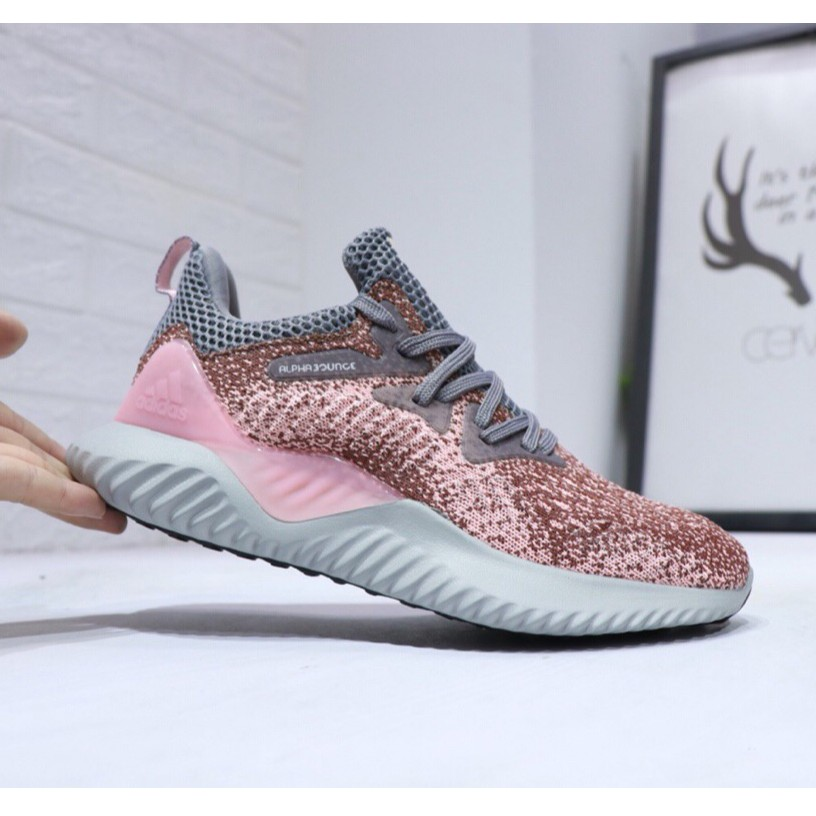 hot sale online 8fad9 e0ea9 Adidas Alpha Bounce Running Sports Shoes Women Pink Sneakers