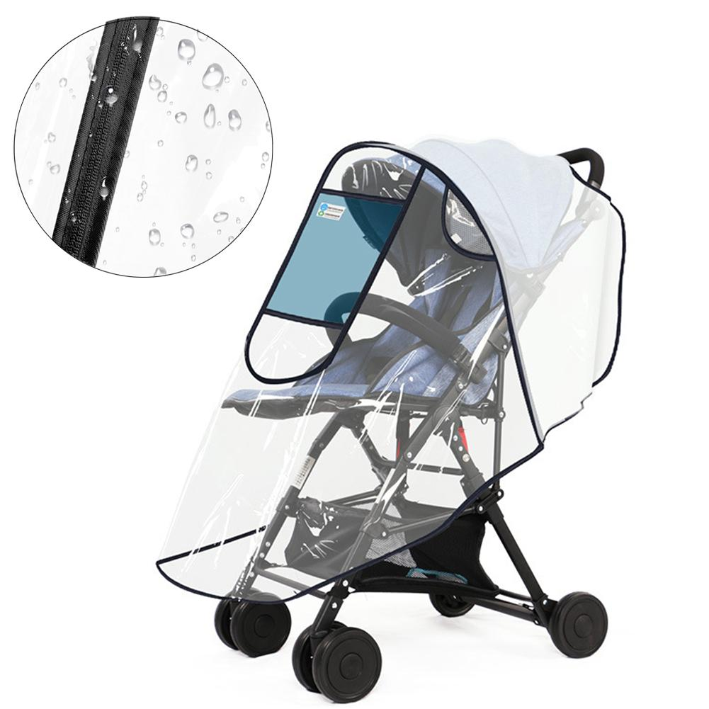 Mosquito Insect Net Stroller Wind Rain Cover Universal Rain Cover for Pushchair Pram Buggy Baby Stroller Raincover Zip Door Travel Outdoor Transparent Waterproof Snow Dust Weather Shield Protector