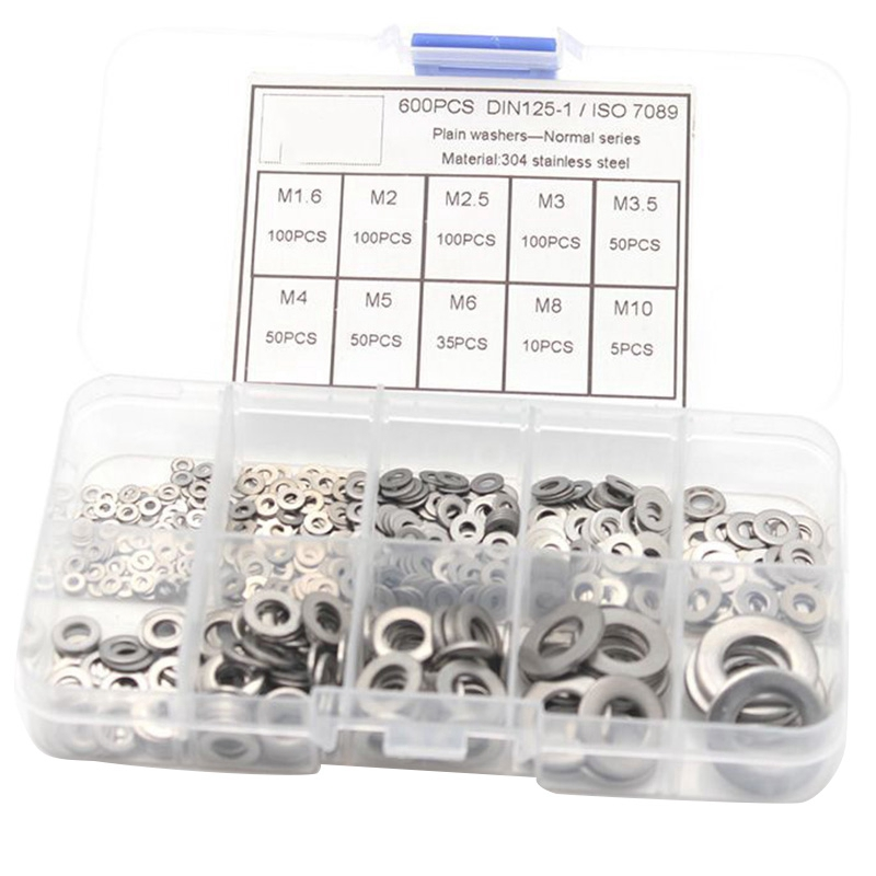 M12 600PCS Set 304 Stainless Steel Assorted Washers Metric Flat Washer Tool M2