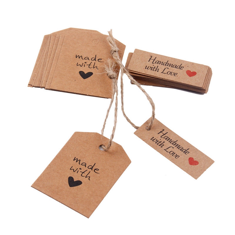 100 Kraft Paper HOMEMADE WITH LOVE Gift Tags Wedding Favor Labels with Twine