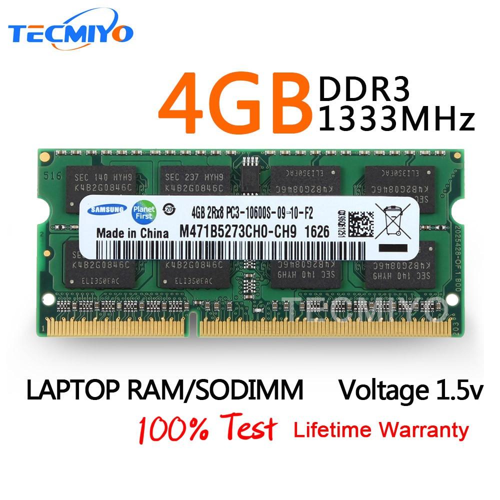 Samsung 4GB 2Rx8 PC3-10600S DDR3-1333 204-Pin Non-ECC Laptop RAM