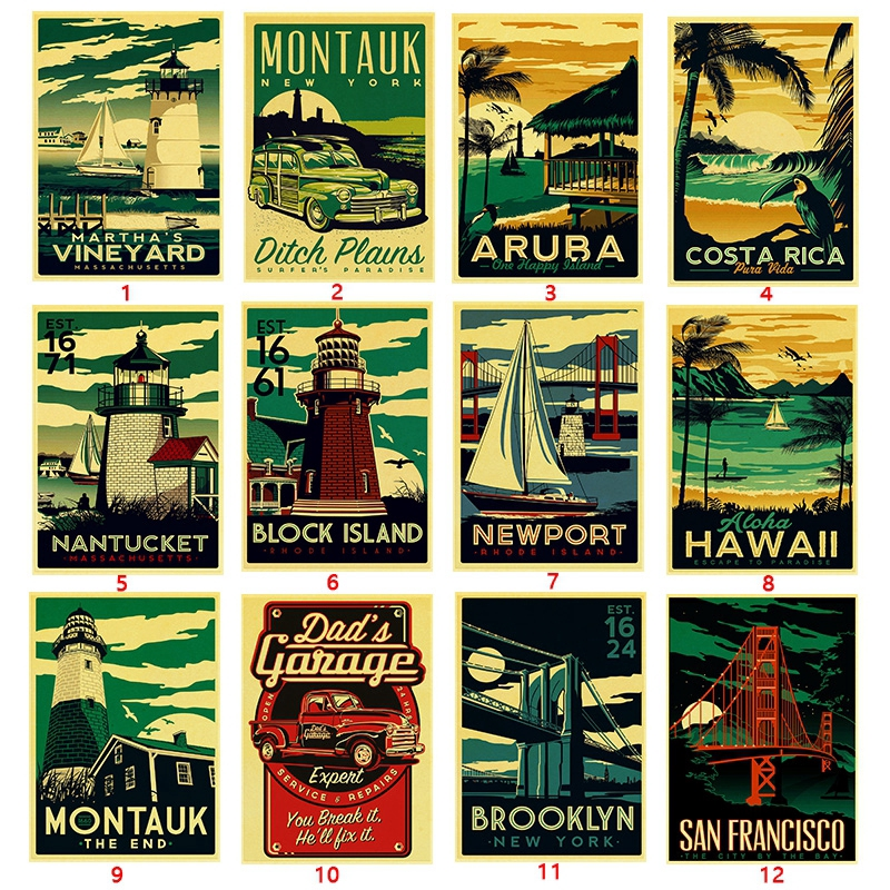 Travel Retro Poster Brooklyn San Francisco Hawaii Aruba Painting Wall Craft Paper Vintage Posters Home Bar Decoration Shopee Philippines