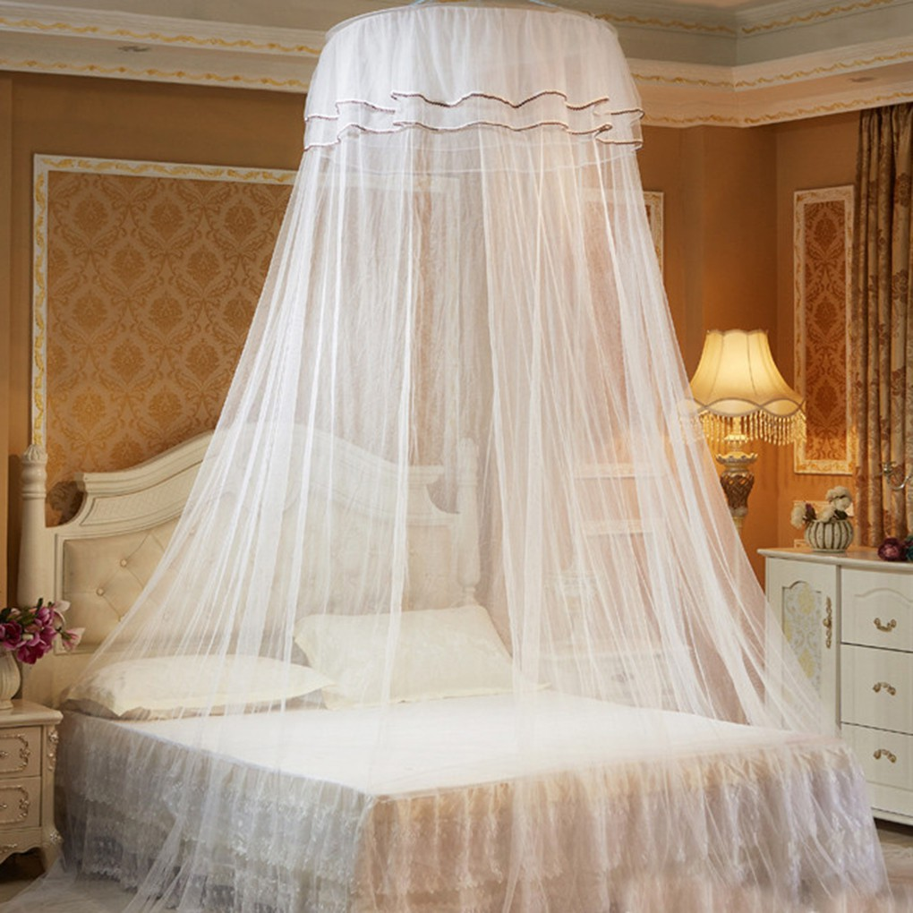 - Round Double Lace Curtain Dome Bed Canopy Princess Mosquito Net