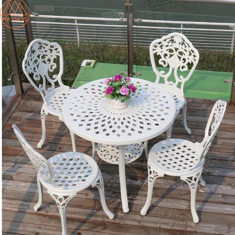 Maynos Outdoor Furniture Cast Aluminum, Round Table Patio Furniture