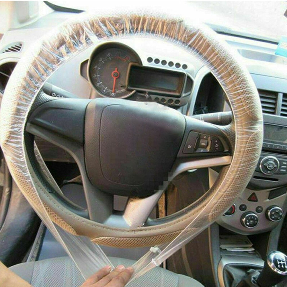 100Pcs Universal Disposable Steering Wheel Cover with Handbrake Cover Gear Shift Cover Plastic Clear Car Steering Wheel Covers with Elastic Trims for Auto Car Supplies 1 Set 3 Pcs White
