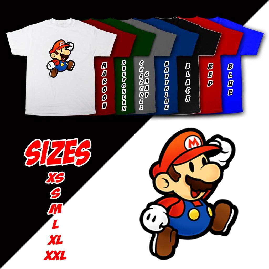 Anime Cartoons Super Mario Bros Jump Up Mario Shirt Bn10 Shopee Philippines