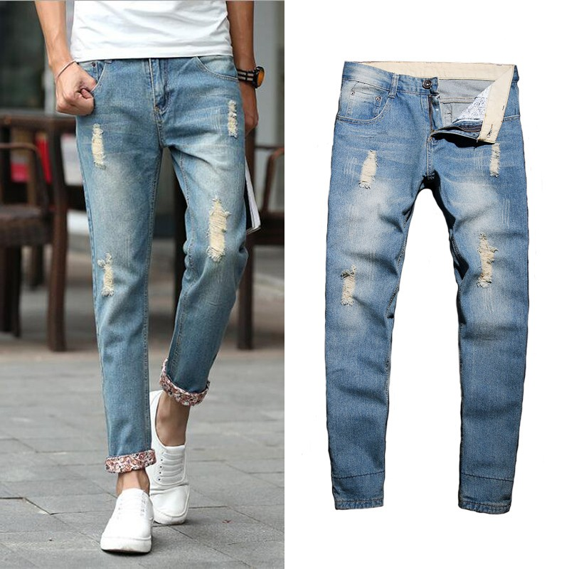 Men Casual Distressed Jeans Straight Slim Destroy Wash Jeans