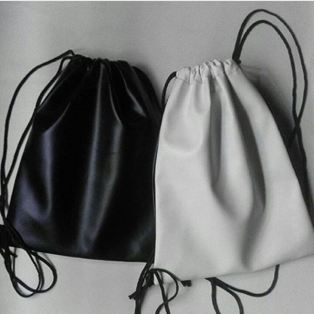 Leather drawstring bag (Plain black or white)  ea80323a3
