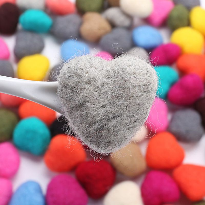 Real Life Plush 3pcs Photography Props Felt Ball Handmade Multi-functional Baby Heart Shape Woolen Diy Decoration