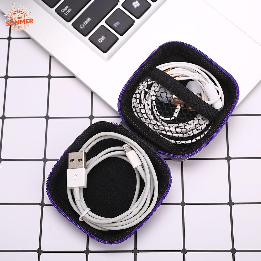 Zippered Stereoplasm Earphone Protection Box PU Storage Bag Package For Mobile