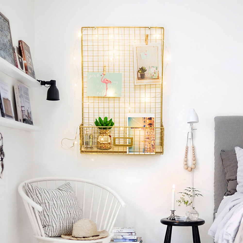 Iron Grid Photo Display Wall Decor Office Home Storage Shelf Shopee Philippines