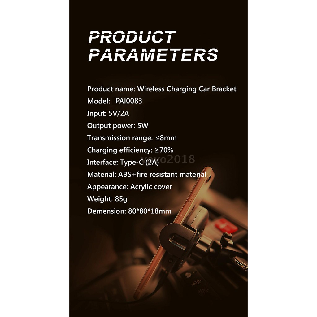 Recci RUC-R1 Wireless Charging Car Bracket Infrared Sensor W