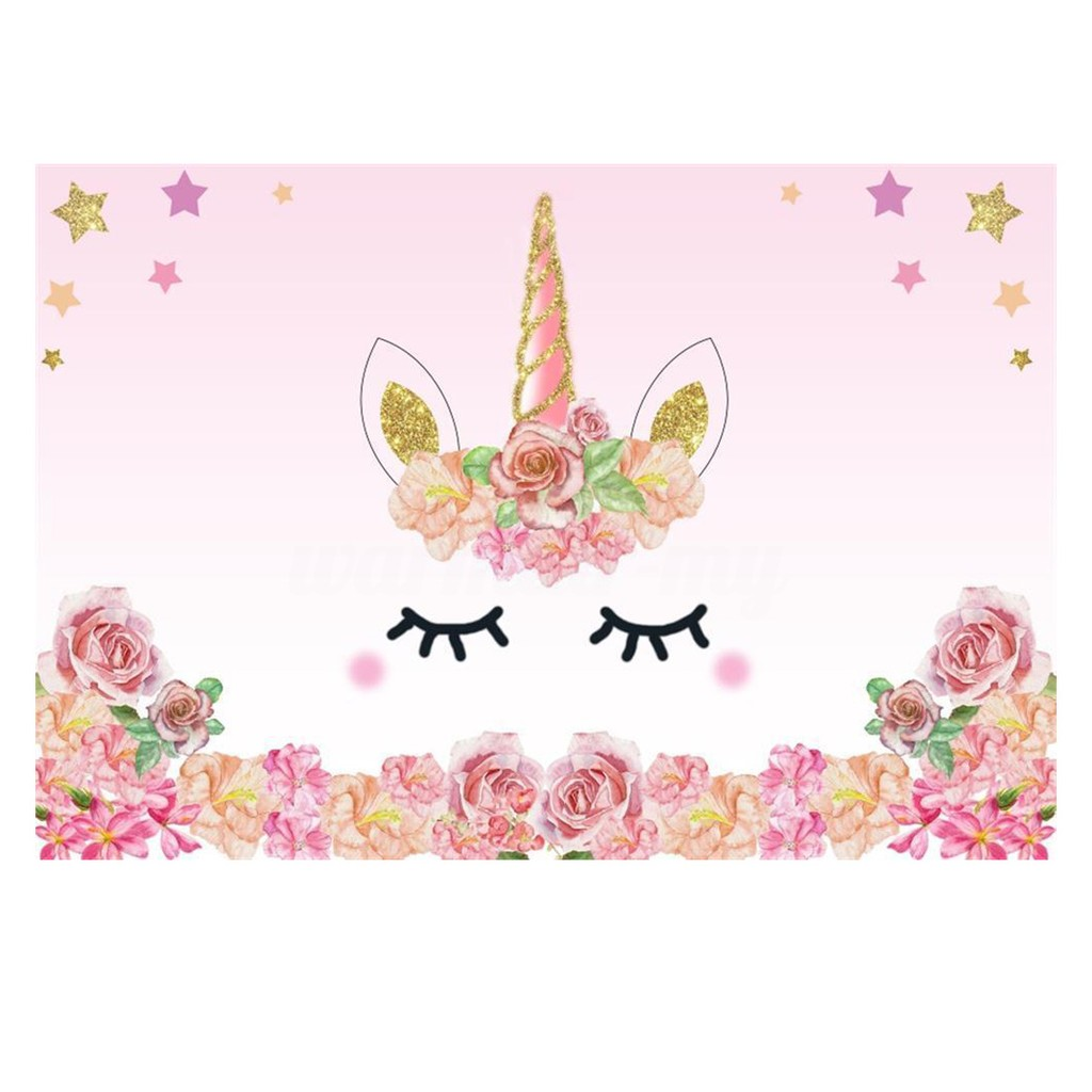 Unicorn Backdrop Sweet Birthday Party Decor Banner B_WA