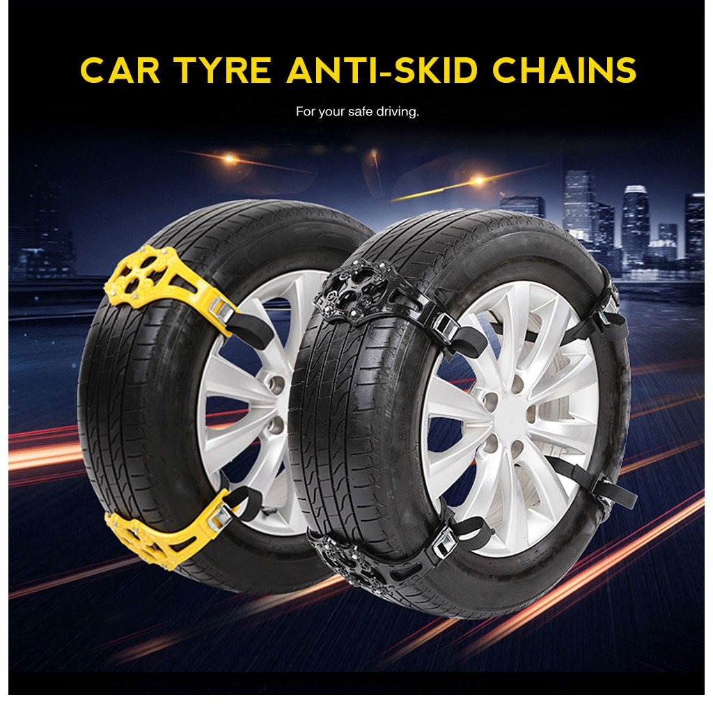 Automotive 4pcs New Car Tire Anti-Snow Anti-Skid Chains Thickening Mud Road Auto Emergency Tire Chains