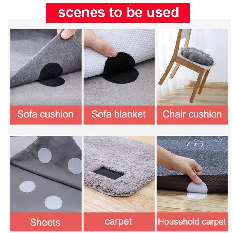 20pcs//10 Pairs Anti Curling Carpet Tape Rug Gripper Velcro Secure the Carpet Sof