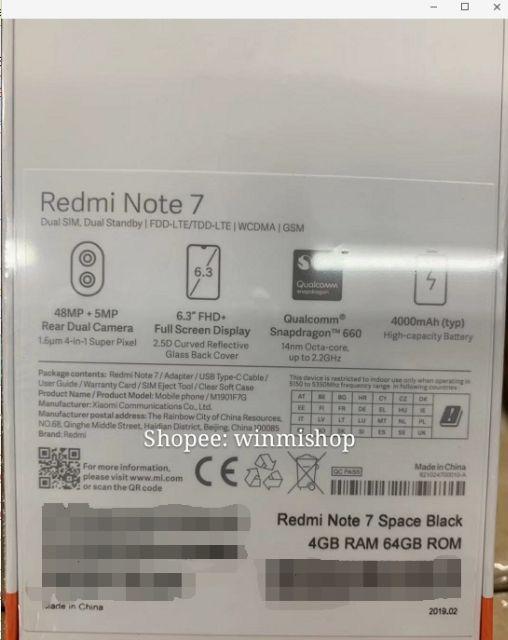 Xiaomi Redmi Note 7 Note7 SD 660 48+5MP Smartphone | Shopee Philippines
