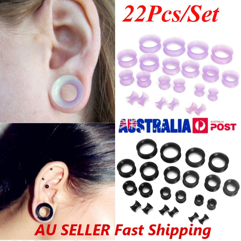 YTE Solid Silicone Saddle Ear Plugs Double Flared Stretcher Piercing Kit 12 Pairs