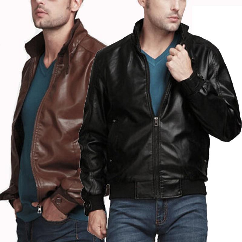 7179d69e5 【On Hand】Men Leather Jacket Outwear Biker Clothing Motor