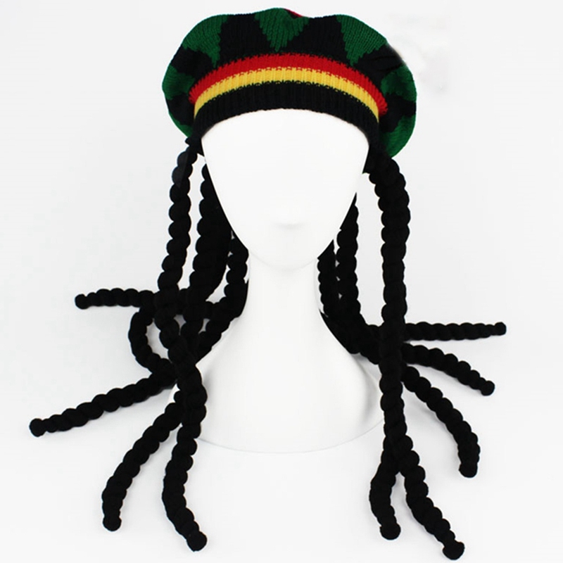 REGGAE KNITTED HAT W DREAD LOCKS hair hats costumes knit mens womens fake dreads
