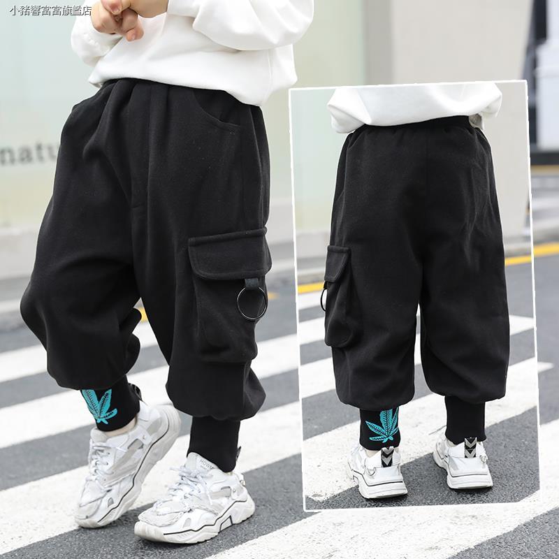 Happy childhood Baby Boys Winter Elastic Waist Fleece Pants Winter Solid Thicken Trousers Casual Sweatpants Bottoms