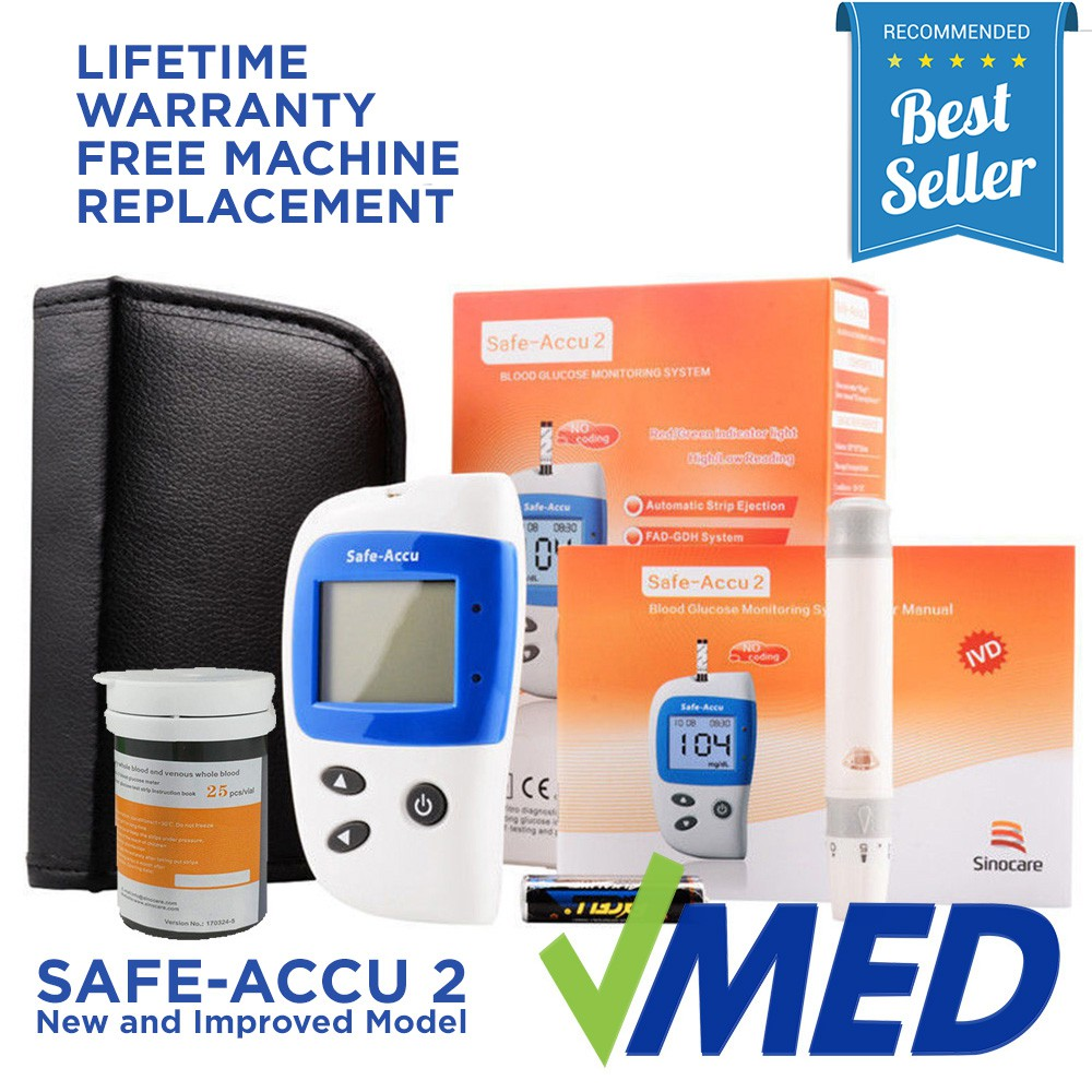 Safe-Accu 2 Blood Glucose Machine Monitor Glucometer Strips