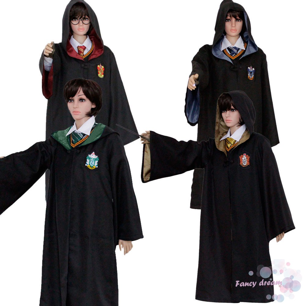 Harry Potter Adult Robe Gryffindor Slytherin Hufflepuff Ravenclaw Cosplay Dress