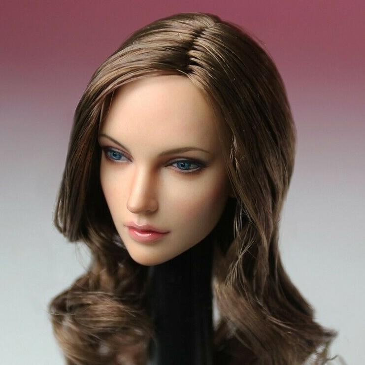 SUPER DUCK 1//6 Blond Hair Female Head Movable Eye Head Model F Phicen Pale Body