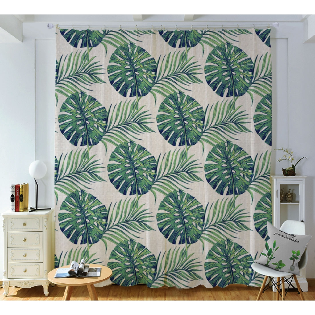 Cotton Linen Shade Curtain Living Room Bedroom Bay Window Decoration Nordic Ins Plant Printing Shopee Philippines
