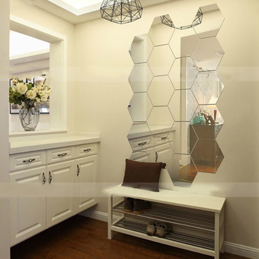 10*10cm 12pcs Hexagonal 3D Mirrors Mirror Wall Sticker ...