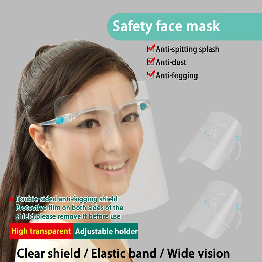 1 PC, Blue Transparent Face/_Shield for Children Reusable Visor Double-Sided Anti-smoke Dustproof Windproof Full Face Protection