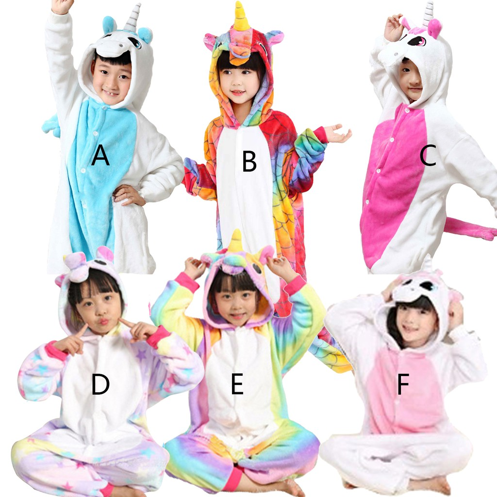 Kids Girls Unicorn Animal Costume Pajamas Hoodie Jumpsuit Nightwear Fancy Dress